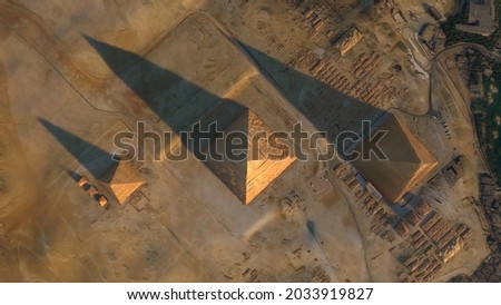 Aerial top down view of Giza Pyramid Complex also called Necropolis is site on the Plateau in Greater Cairo Egypt screenshot of high resolution animation
