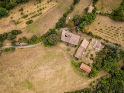 Aerial top down view of rural village houses in Cevennes National Park Southern France