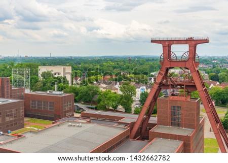 Aerial top panoramic view of Zeche Zollverein, Zollverein Coal Mine Industrial Complex, from rooftop of Ruhr museum in Ruhr region in Essen, Germany. Stock foto ©