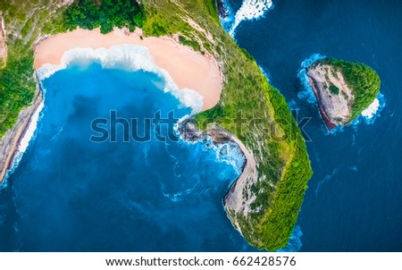 Aerial Top View Background. Flying Drone Above Beautiful Blue Sea Water. Wonderful Panoramic Landscape. Ocean Waves Background. Tropical Beach View. Crystal Waves. Clean, Blue Background. Green View #662428576