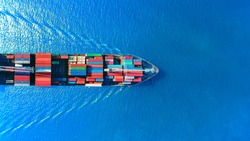 Aerial top view container ship full load container for logistics import export, shipping or transportation concept background.