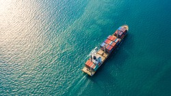 Aerial top view container ship with crane bridge for load container, Business global company commercial trade logistics import export, Freight shipping cargo vessel transportation.