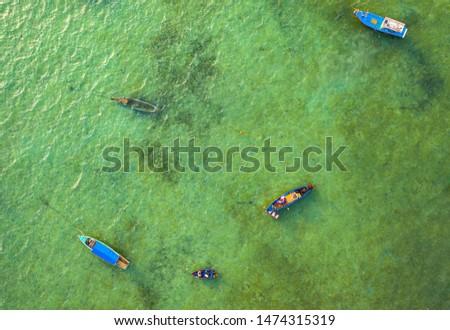 aerial top view fishing boats in Rawai sea
