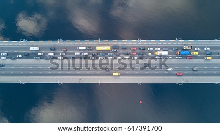 Aerial top view of bridge road automobile traffic of many cars, transportation concept  #647391700