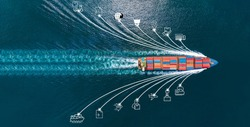 Aerial top view of cargo ship with contrail and smart icons on the ocean sea , ship carrying container export from container international port to custom ocean concept freight shipping by ship service