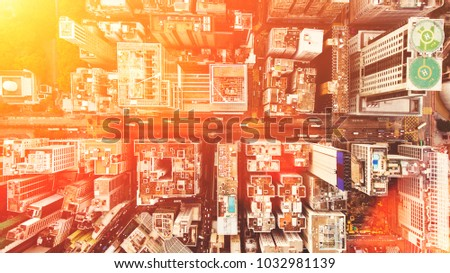 Aerial top view of developed Metropolis city with tall office skyscrapers in downtown district with blocks. Big megapolis cityscape with advanced urbanisation and infrastructure. Real estate business #1032981139