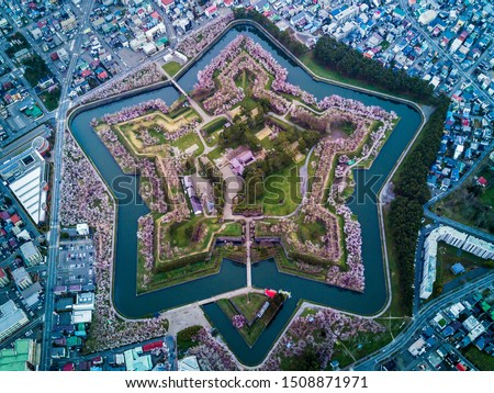 Aerial Top view of Fort Goryokaku with cherry blossom, Build for protect city from enemy in  Star Shape. This place is a famous to visit in Hakodate, Hokkaido Japan Photo stock ©