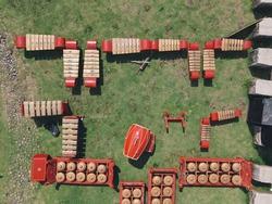 Aerial top view of Gamelan, traditional javanese and balinese music instuments.