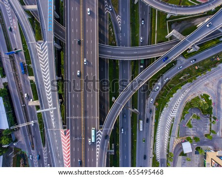 aerial top view of highway and...
