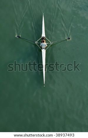 Aerial Top View of Man Kayaking on river, young man rowing in kayak down the river