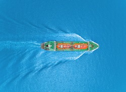 Aerial top view Oil ship tanker or LPG tanker transportation oil from refinery on the sea.