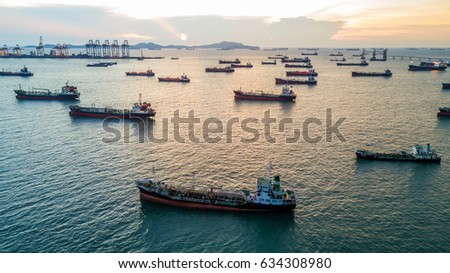 Aerial top view oil tanker cargo ship.