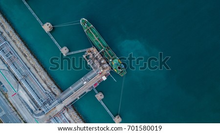 Aerial top view oil tanker ship under cargo operations, Import export business and transportation by tanker business logistic.