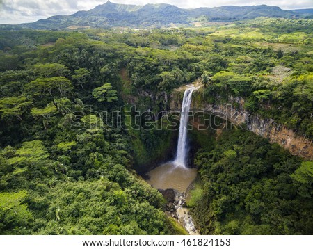 Aerial top view perspective of Chamarel Waterfall in the tropical island jungle of Mauritius #461824153