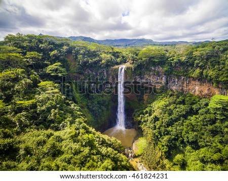 Aerial top view perspective of Chamarel Waterfall in the tropical island jungle of Mauritius #461824231