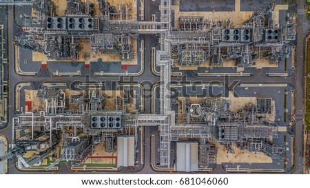 Aerial top view refinery factory form industry zone, oil and gas  stock photo
