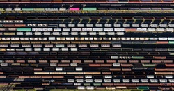 Aerial Top view to railway cylindrical tank shipping containers Rail way art Artistic composition. Striped creative transport industry representation.   railroads and freight trains to transport cargo