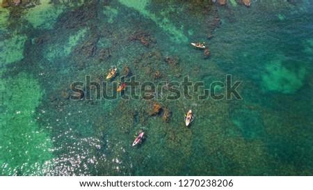 Aerial. Tourist kayaks on the sea near Albufeira Algarve, Portugal.