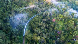 Aerial. Train from Ella to Kandy in mountains. Sri Lanka.