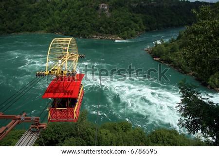 Aerial Tram Crosses the Niagara River near Niagara Falls.
