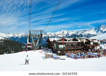 Aerial tramway and Restaurant at Alpine ski resort