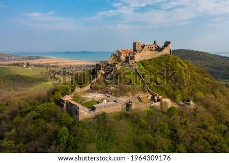 Aerial view about castle of Szigliget with Lake Balaton in the background. Stock photo ©