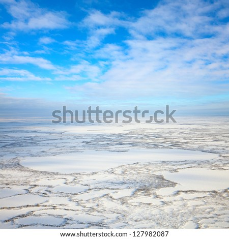 Aerial view above the boundless tundra in winter. Lakes and marshes are covered snow under cloudy sky.