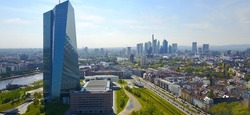 Aerial View Aerial View Frankfurt Main Skyline with Banks EZB European Central Bank