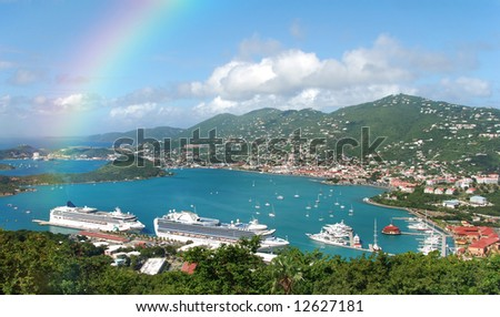 Aerial view and rainbow over St Thomas, US Virgin islands