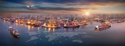 Aerial view and top view cargo plane flying above ship port in the export and import business and Smart logistics international goods. Shipping cargo to harbor by crane
