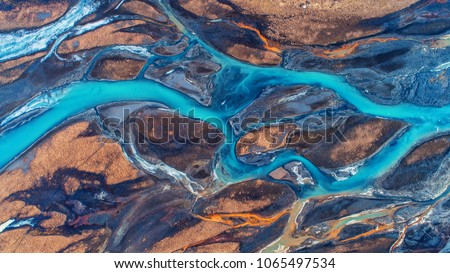 Aerial view and top view river in Iceland. Beautiful natural backdrop.
