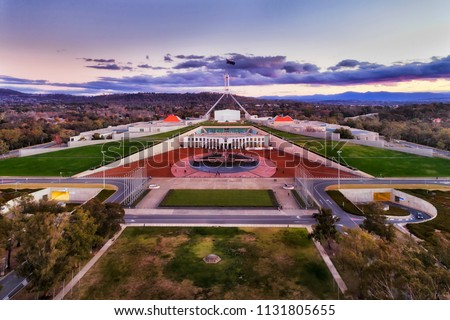 Aerial view around Capitol hill in Canberra - Australian Capital Territory. Facade of public government building with square and surrounding park lands. #1131805655