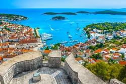 Aerial view at amazing archipelago in front of town Hvar, Croatia Mediterranean.