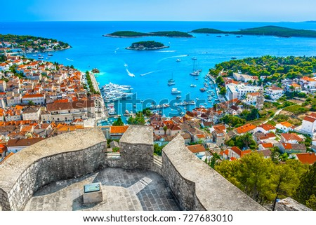 Aerial view at amazing archipelago in front of town Hvar, Croatia Mediterranean. #727683010