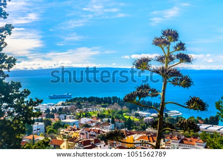 Aerial view at amazing mediterranean summer landscape in Croatia, Split city scenery. / Selective focus, shallow depth of field.