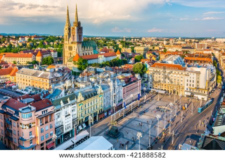 Aerial view at capital town of Croatia, Zagreb city main square, Europe. / Zagreb aerial cityscape Croatia.