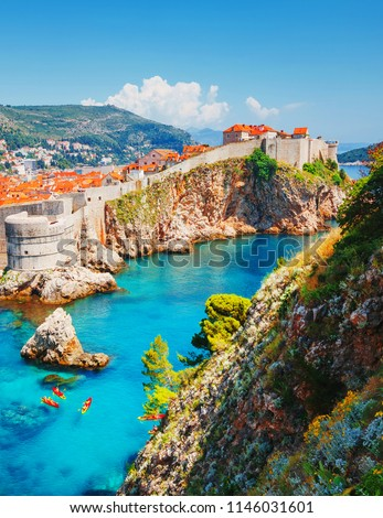 Aerial view at famous european travel destination city of Dubrovnik - Fort Bokar seen from south old walls on a sunny day. Location place Croatia, South Dalmatia, Europe. Discover the beauty of earth.
