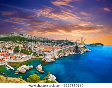 Aerial view at famous european travel destination in Croatia, Dubrovnik old town, Dalmatia, Europe. UNESCO list. Fort Bokar seen from south old walls on a sunny day in dramatic light. Game of thrones