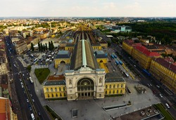Aerial view at hungarian train station, Keleti Pályaudvar