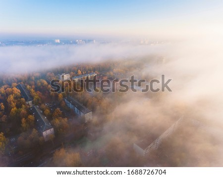 Aerial view at Lobnya city in the fog at sunrise, Russia Сток-фото ©