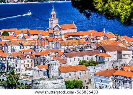 aerial view at old town korcula ...
