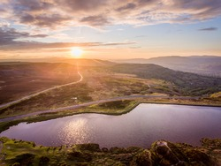 Aerial view at sunset Brecon Beacons. Keepers Pond, The Blorenge, Abergavenny, Wales, United Kingdom