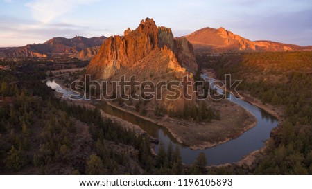 Aerial view at sunset of Smith Rock in central Oregon and the Crooked River