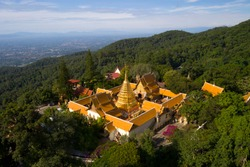 Aerial view at Wat Phra That Doi Suthep temple in Chiangmai, Thailand.