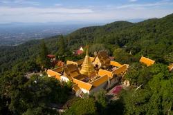 Aerial view at Wat Phra That Doi Suthep temple in Chiangmai, Thailand.