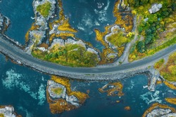 Aerial view Atlantic ocean road in Norway travel roadtrip drone scenery from above beautiful scandinavian landmarks destinations top down