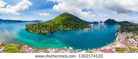 Aerial view Banda Islands Moluccas archipelago Indonesia, Pulau Gunung Api, lava flows, coral reef white sand beach. Top travel tourist destination, best diving snorkeling. Foto stock ©