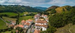 Aerial view, Basque Country, Aldudes Valley, the village of Urepel, Pyrénées-Atlantiques, France