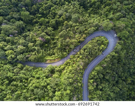 Aerial view, Beautiful road on the mountain in Chiang mai, Thailand. #692691742
