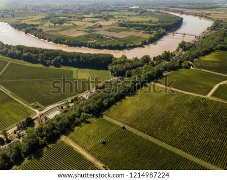 Aerial view Bordeaux Vineyard at sunrise, Entre deux mers, Langoiran, Gironde, France